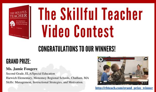 Jamie Fougere wins Skillful Teacher Video Contest