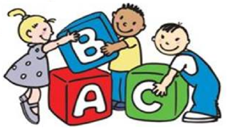 Preschool children playing with ABC blocks